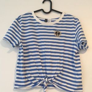 Striped Tie-Front Cropped T-shirt